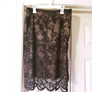 NWOT EXPRESS LACE SKIRT BLACK AND TAN SIZE 5/6